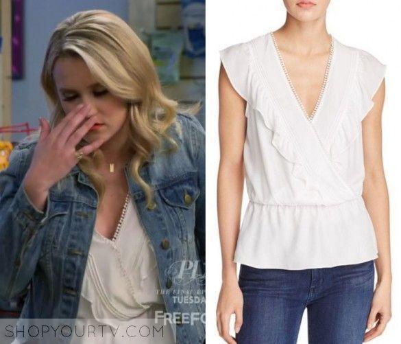 007aa274 Young & Hungry: Season 5 Episode 8 Gabi's White Wrap Blouse | Shop Your TV  Gabi Diamond (Emily Osment) wears this white ruffle wrap front blouse in  this ...