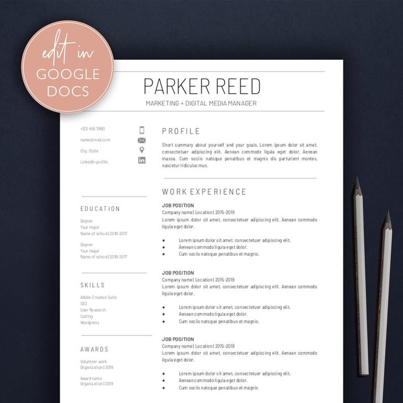 Google Docs Resume Template / Modern Resume / Professional