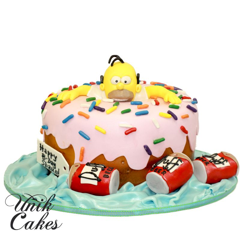 Fantastic Homer Simpson Donut Cake Aniversario Bolo Funny Birthday Cards Online Sheoxdamsfinfo