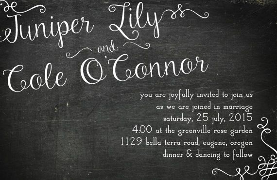 5x7 Chalkboard Invitation by prettythingsbyQ on Etsy