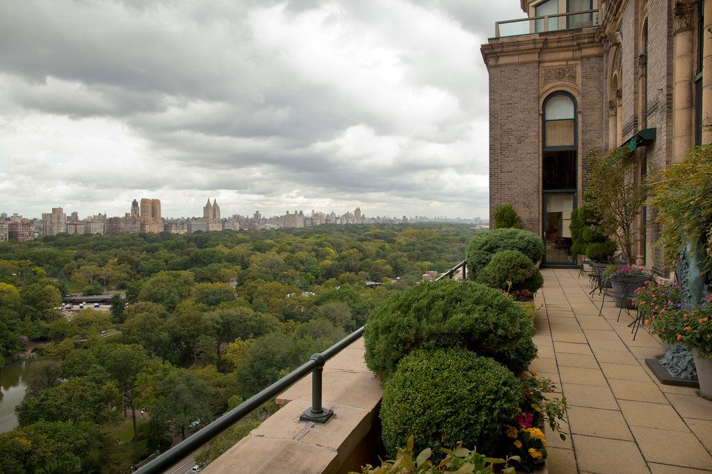 The west terrace faces Central Park. Full-Floor Co-op Listed for 95 Million at Sherry-Netherland.