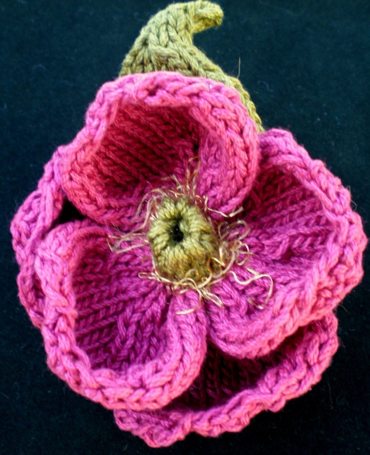 Knitting Flowers Design : Instant download pdf knit flower pattern peony knitted