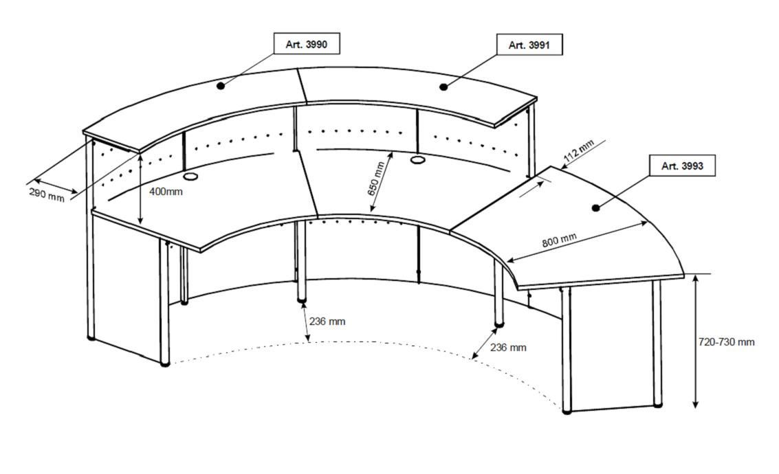 Reception Desk Section Detail Drawing