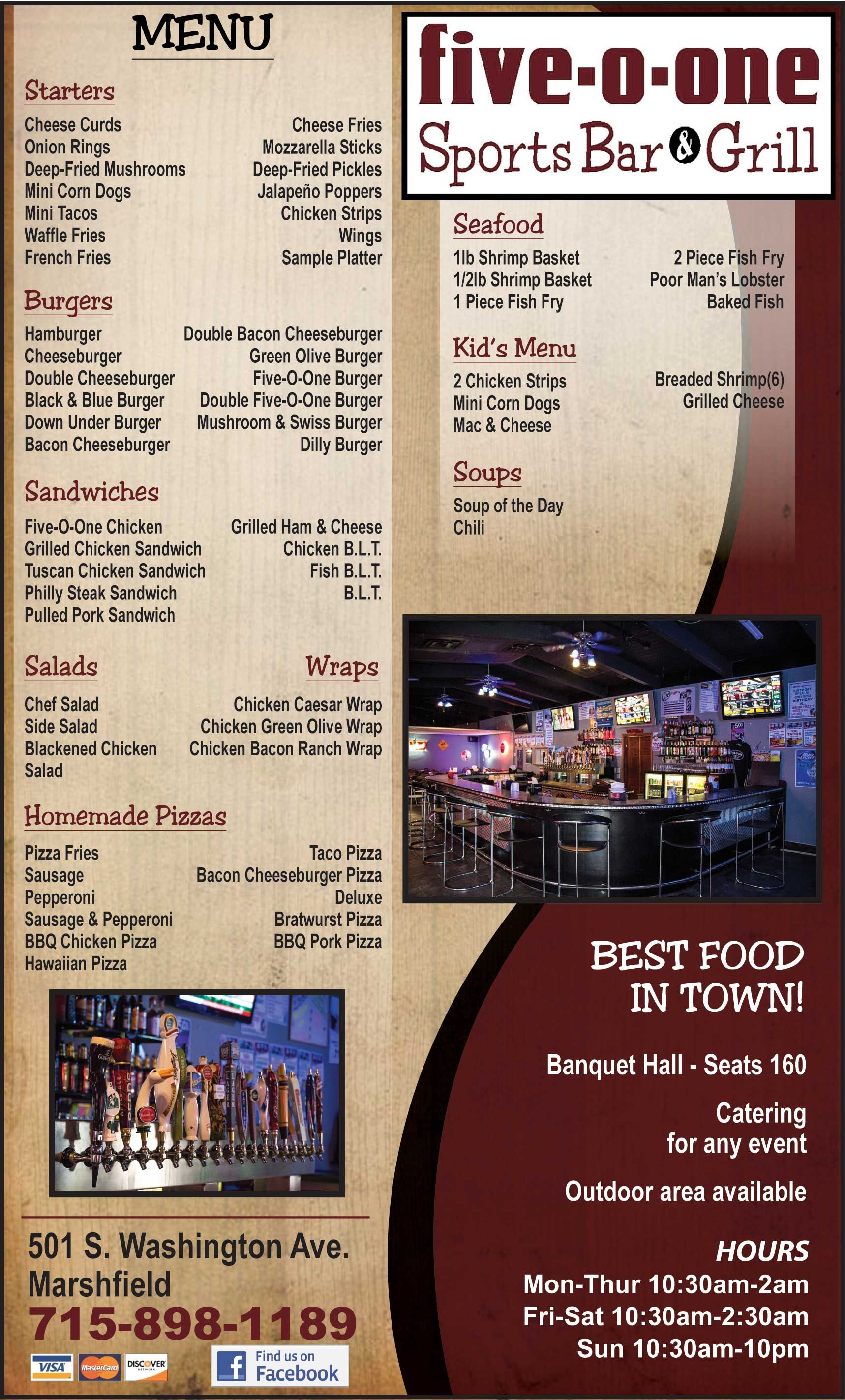 Restaurant Menu Graphic Design Services For Sports Bar And Grill