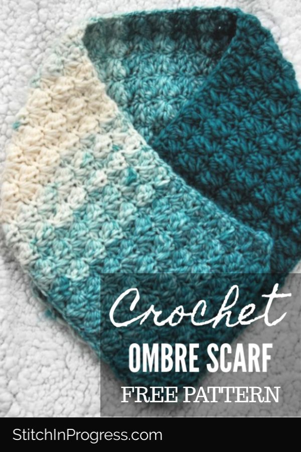 One Skein Crochet Ombre Scarf Pattern #crochetscarves