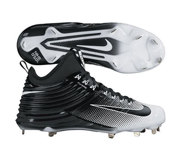 Nike Lunar Trout 2 Mid Metal Baseball Cleats Black White Mike Trout 807127