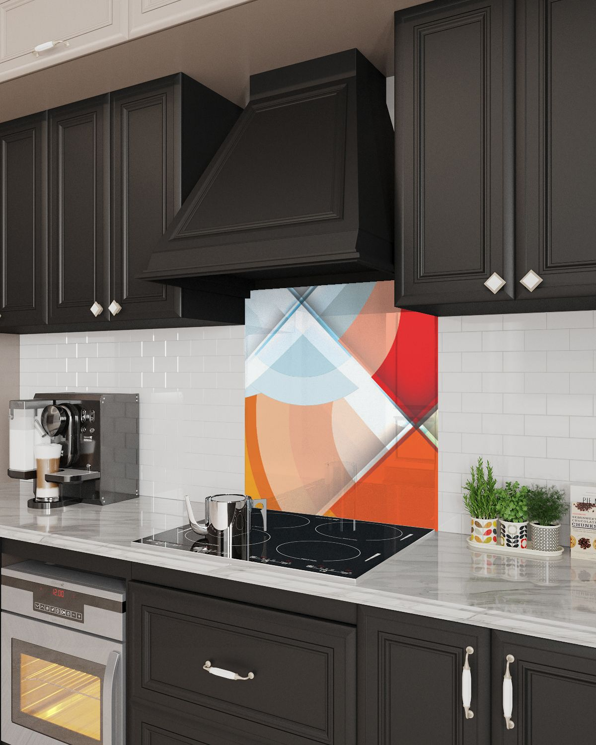 Glass Backsplash Abstract Colorful Circles In 2020 Glass Backsplash Kitchen Design Backsplash
