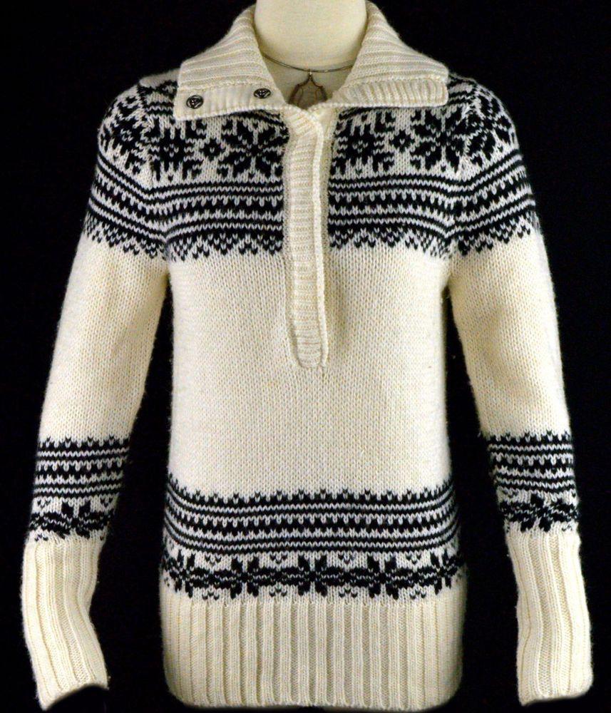 J Crew Chunky Fair Isle Funnelneck Sweater Nordic Retro Ski ...