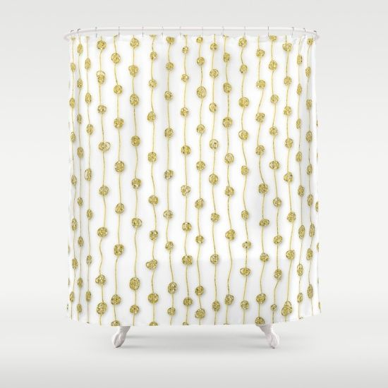 Pin By Cool Deadly On Shower Curtains White Gold Metallic