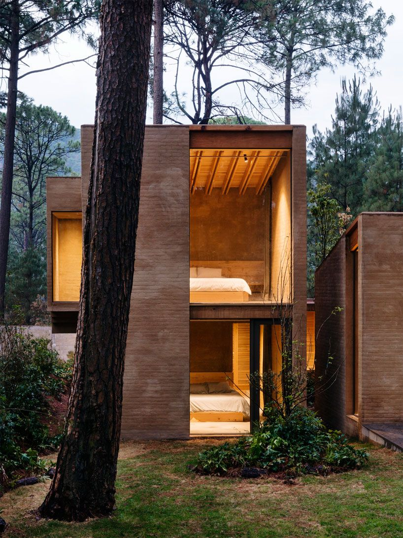 taller hector barroso layers vacation estate with pine trees in mexico