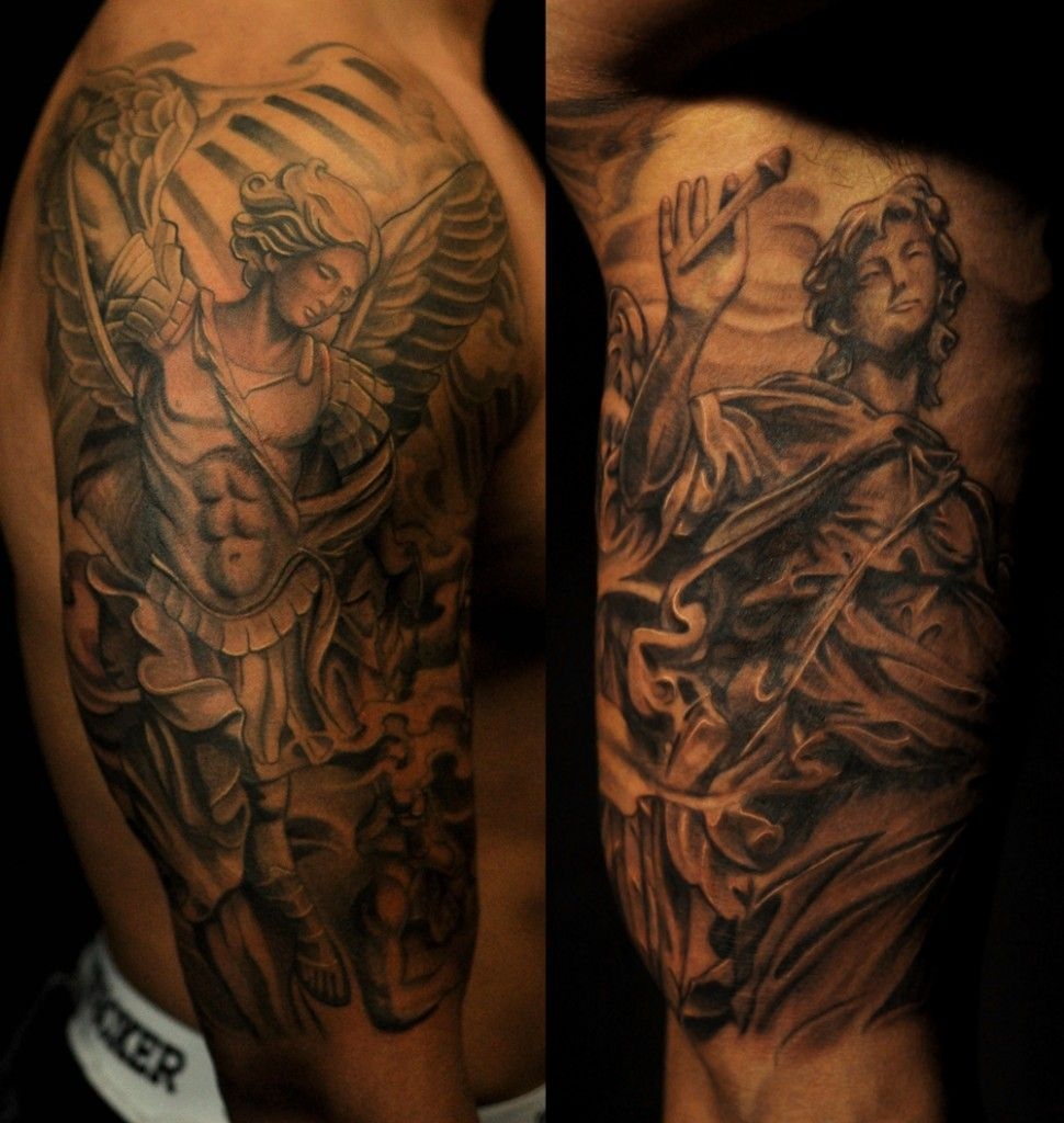 Half sleeve black and grey st michael tattoo chronic ink