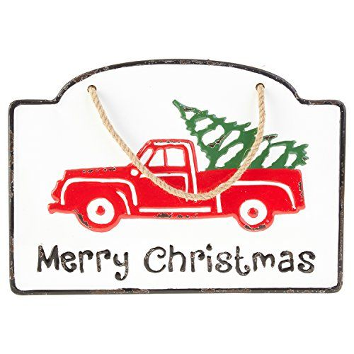 Vintage Iron Metal Merry Christmas Sign with Red Truck and Christmas