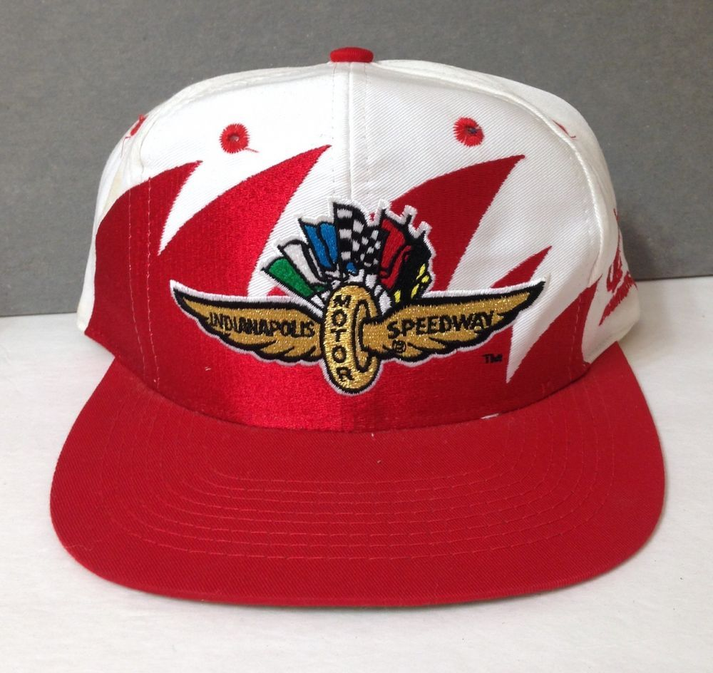 ac54bdc13c4 vtg INDIANAPOLIS MOTOR SPEEDWAY SHARKTOOTH SNAPBACK HAT red white gold indy  500  LogoAthletic  BaseballCap