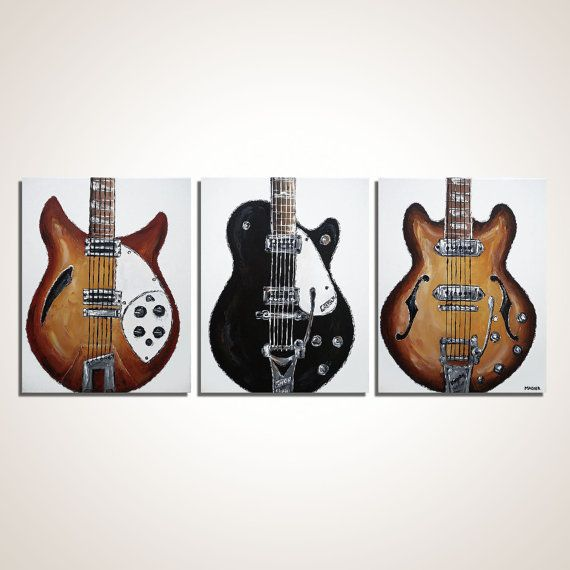 Guitar painting Beatles Art The Beatles Guitar Music canvas art, Original guitar painting on canvas by Magda Magier