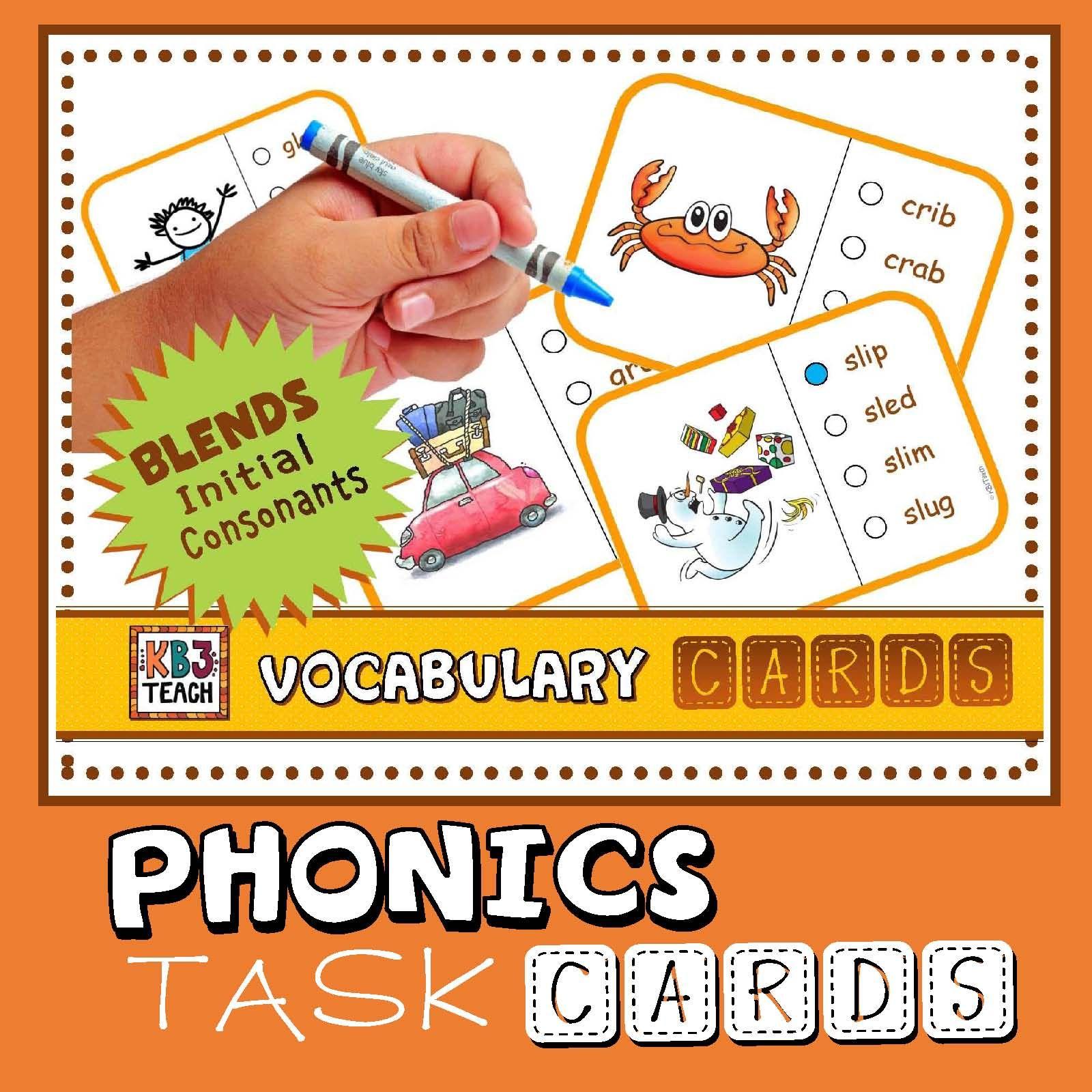 Phonics Multiple Choice Task Cards Initial Consonant