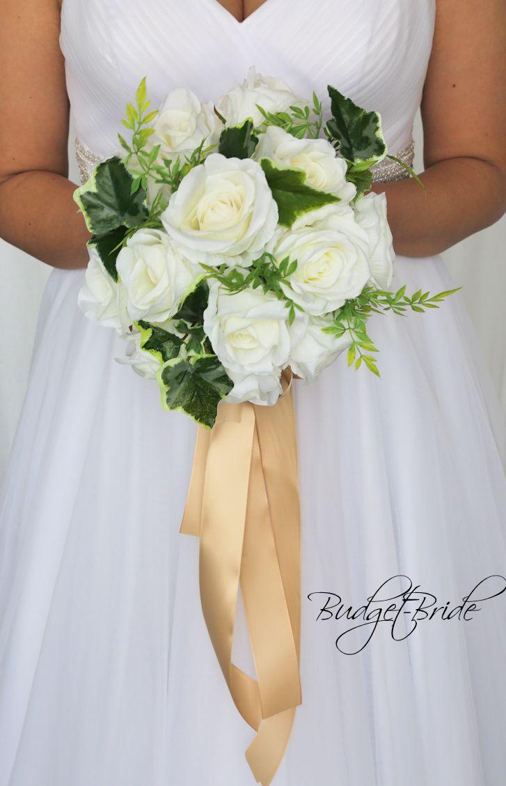 Wedding Flower Flowers Brides Bouquet Round White Roses Ivy
