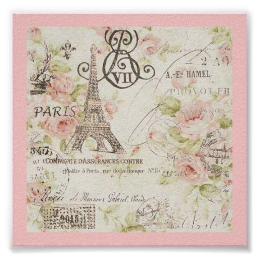 Chic Vintage Floral Paris Eiffel Tower Posters