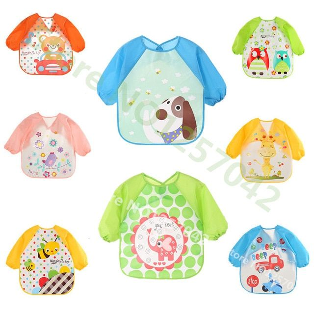 19cb3483c78e6 Baby Bibs Infant Burp Cloth Long Sleeve Apron Waterproof Children ...