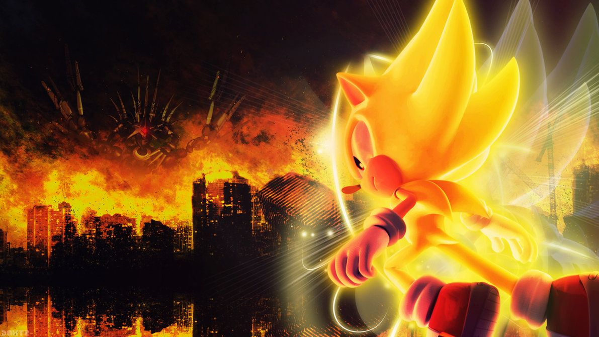 Super Sonic Vs Metal Overlord Wallpaper By Sonicthehedgehogbg On
