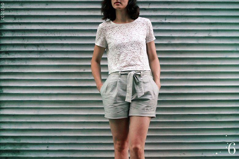 Made by 6 Salme paper bag waist shorts pattern | Shorts | Pinterest