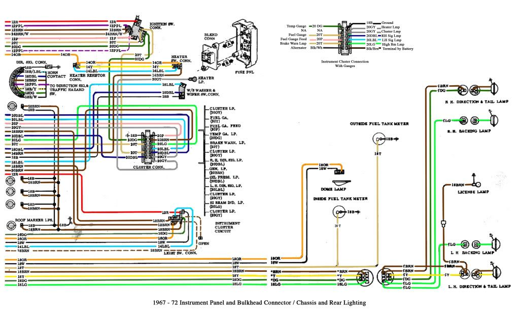 chevy c10 wiring diagram 1 1967 1972 automotive pinterest rh pinterest co uk 1970 chevy c10 wire diagram 1972 chevy pickup wiring diagram