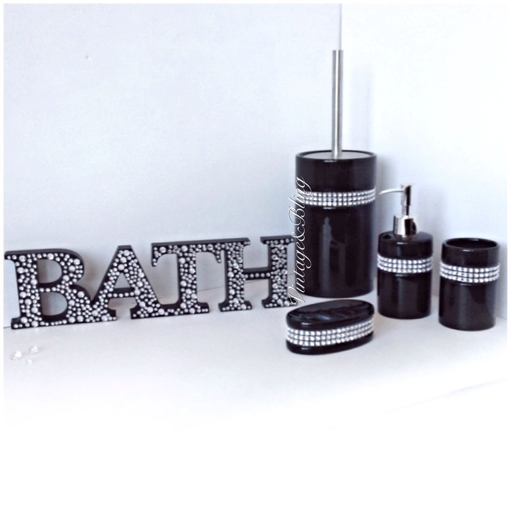 Black And Diamond Bathroom Accessories Glitter Bathroom