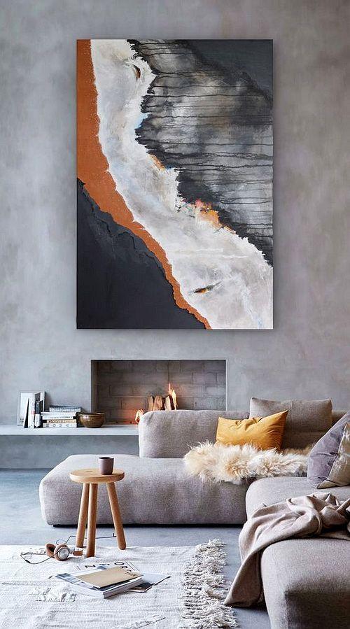 Photo of Beautiful art. Bold statement. #graystripedwalls Beautiful art. Bold statement.