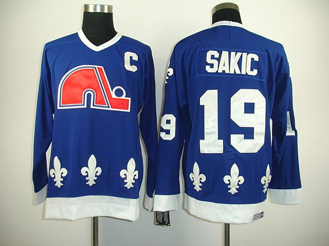 reputable site 73bca 7df3c Quebec Nordiques 19 Joe SAKIC Dark Blue Jersey | Sakic | Nhl ...