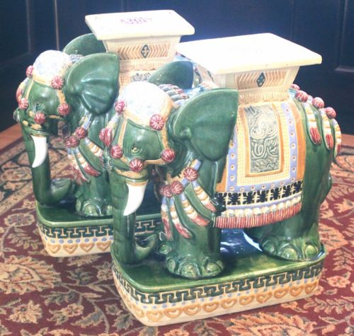 Set Of 2 Porcelain Asian Elephant Hand Painted Floor Table