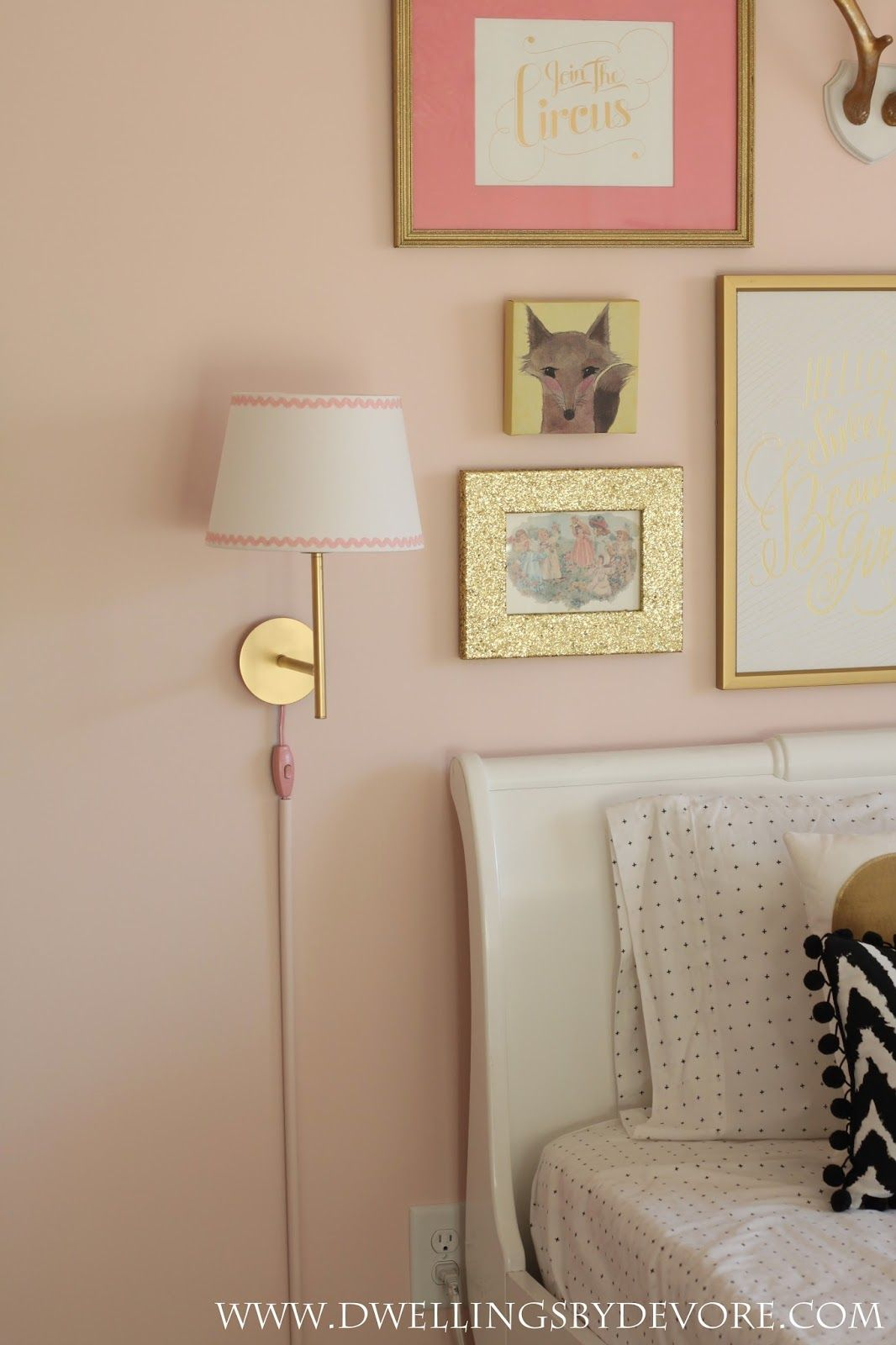 Ikea Rodd Wall Sconce Hack Rustoleum Gold Metallic Spray Paint Hot Glued Ric Rac On The Shade