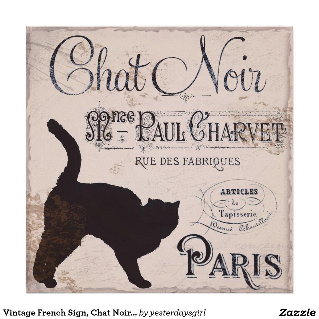 Vintage French Sign Chat Noir Paris Black Cat Poster Zazzle Co Uk French Signs Cat Posters Paris Poster