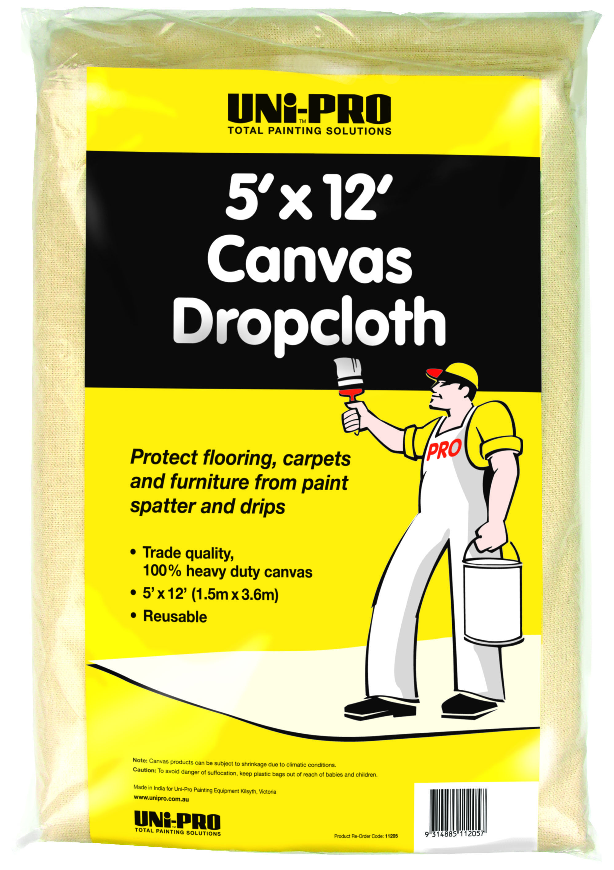 Bunnings Drop Cloth Drop Sheet Canvas Unipro 5x12 Heavy Duty 11205 Bunnings