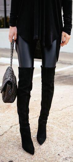 leather leggings + o   Fashion, Dallas fashion, Knee boots