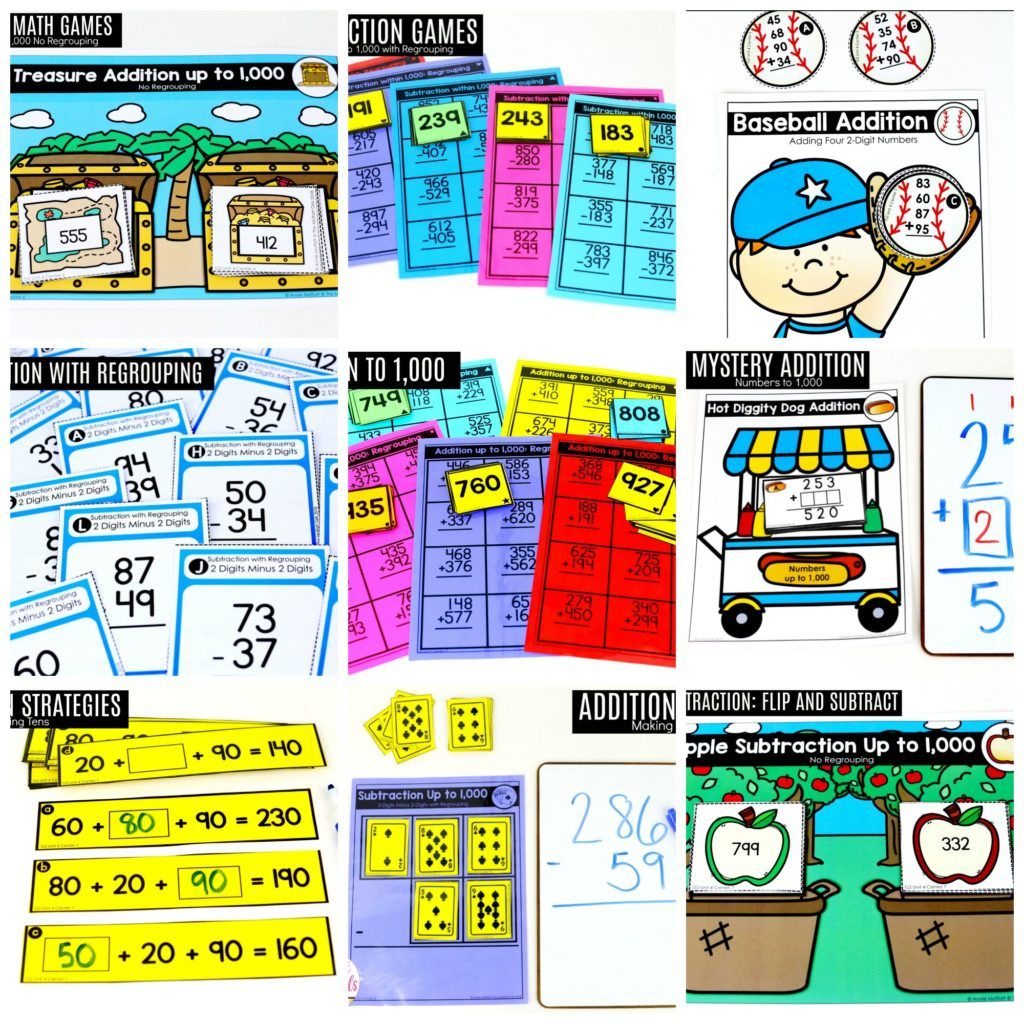 Second Grade Addition And Subtraction Of 2 Digit And 3 Digit Numbers Addition And Subtraction Subtraction Fun Math Addition math games grade 2
