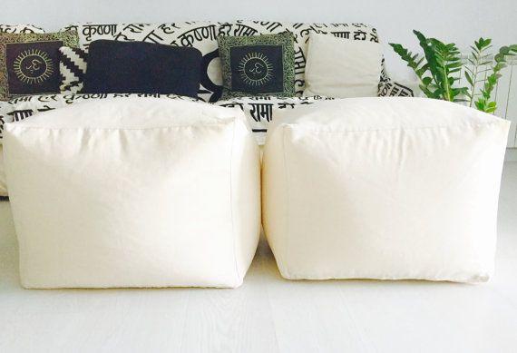 "Square - modern fabric pouff - puff ottoman - floor cushion design pouff (20""x20""x20""-50x50x40cm)"