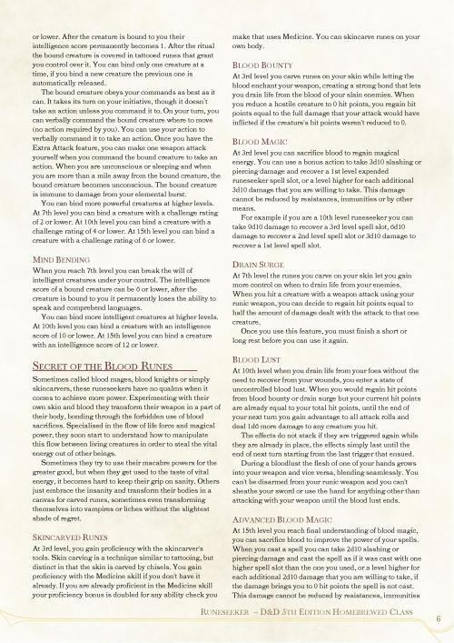 dnd-5e-homebrew: Runeseeker Class by GameHermetist | Fifth