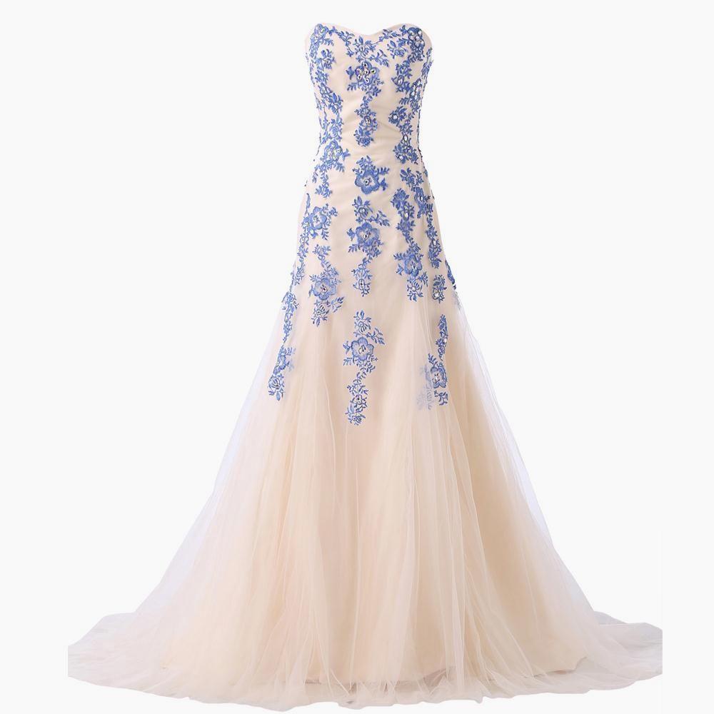 Blue long mermaid evening dress lace appliques prom dresses