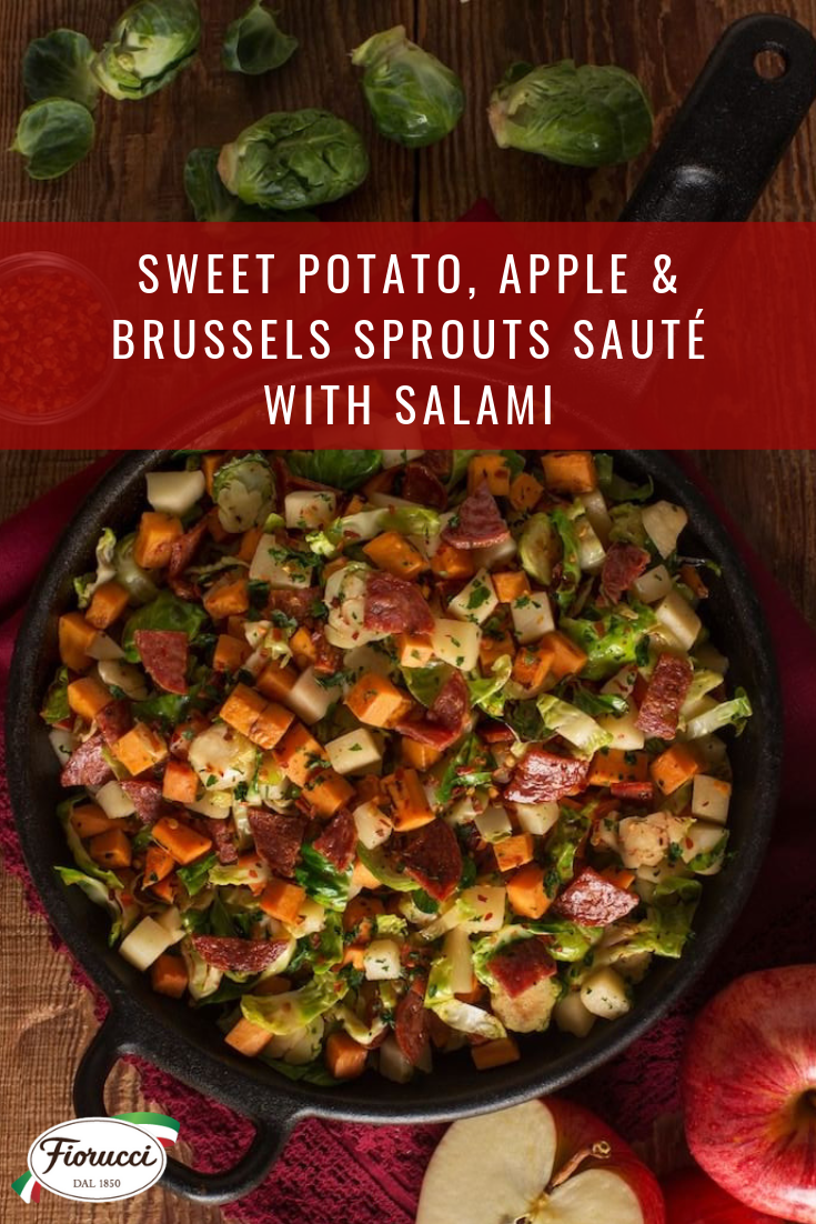 sweet potato apple and brussels sprout saute with italian salami brussel sprouts and sweet potato recipe sprouting sweet potatoes sweet potato skillet pinterest
