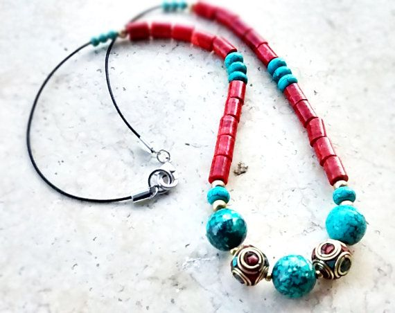 Coral and Howlite Gem Necklace - New Custom Handmade Heishi Necklace - Tribal Necklace - Women Heishi Jewelry