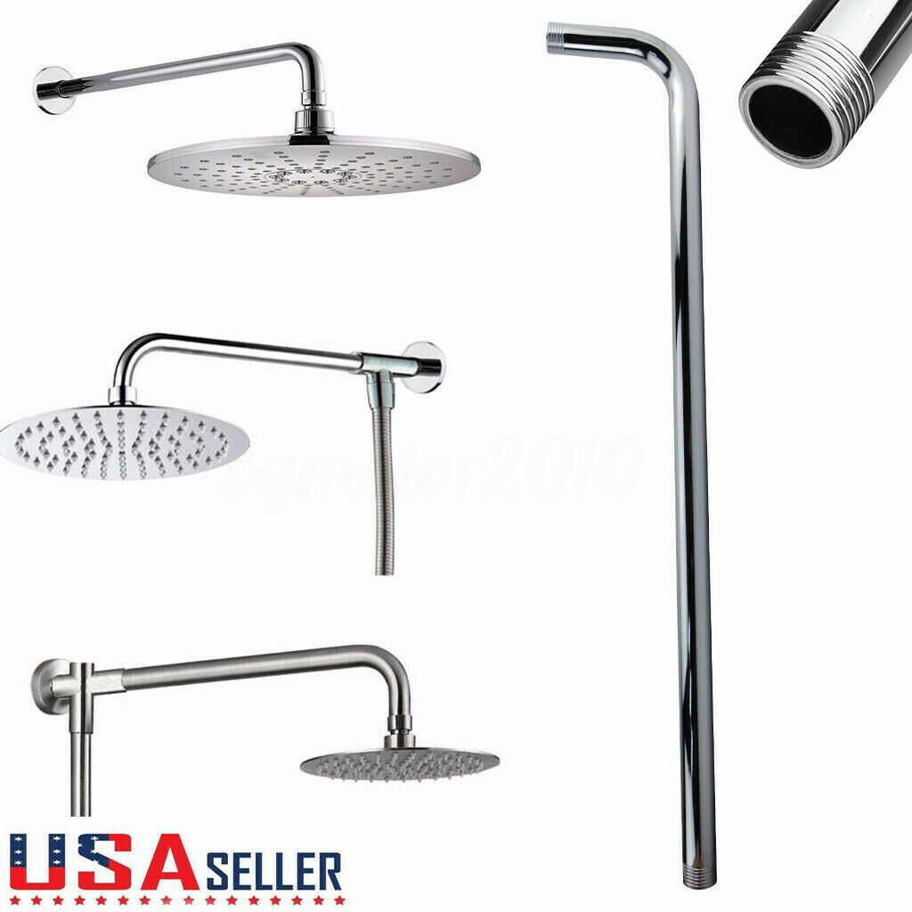 Stainless Steel Bathroom Wall Mounted Shower Arm Head Extension Pipe Modern UK