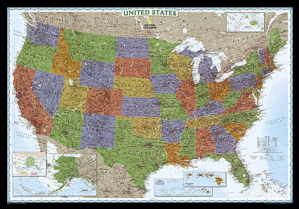 United states decorator laminated by national geographic maps united states decorator laminated by national geographic maps publicscrutiny Gallery