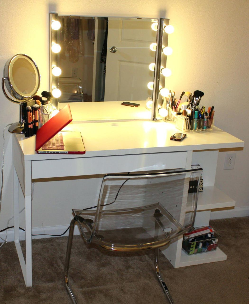 Vanity table and mirror with lights best home office furniture
