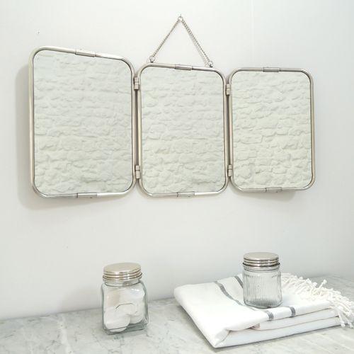 Miroir barbier 3 faces égales nickel chaîne amovible Chaumont