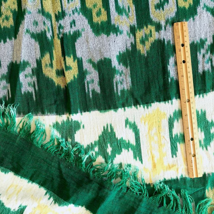 Vintage Ikat Blanket Handwoven Bedcover Cotton Ikat  70 wide x 90 long Bright Green Yell Vintage Ikat Blanket Handwoven Bedcover Cotton Ikat  70 wide x 90 long Bright Gre...