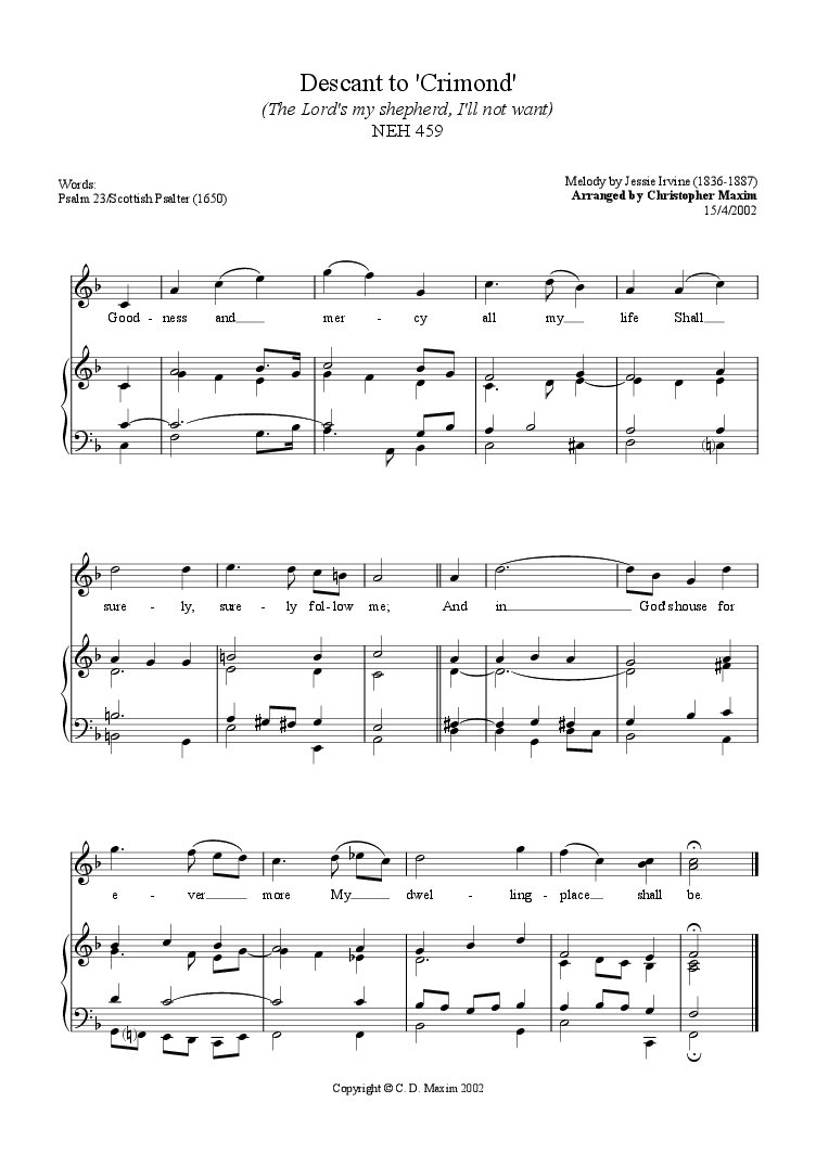 Descant To Crimond The Lord S My Shepherd I Ll Not Want For Choir Keyboard By Jessie Irvine Sheet Music Pdf File To Download Print Sheet Music Sheet Music Sheet Music Pdf