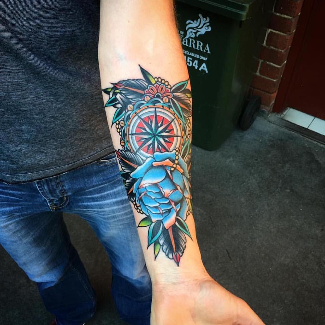 742 Gilla Markeringar 14 Kommentarer Good Luck Tattoo Goodlucktattoo Pa Instagram Done By Kirk Jones Tatuajes Tatuajes Brujula Tatuajes Tradicionales