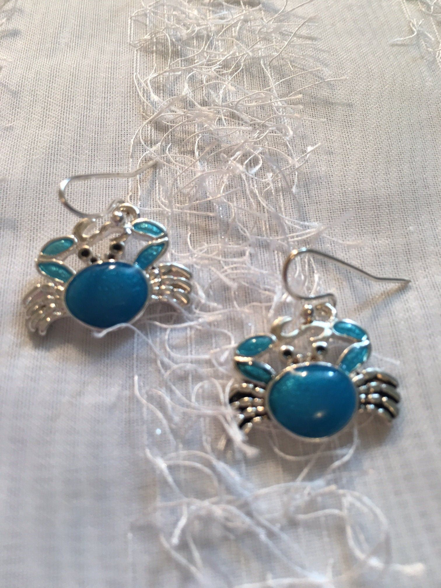 Crab Necklace And Earring Set Blue Made Of Sterling Silver Bracelet