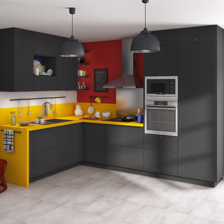 Cuisine Complete Sofia Noire Delinia Id En 2020 Meuble Cuisine Cuisine De Petit Appartement Meubles De Cuisine Noirs