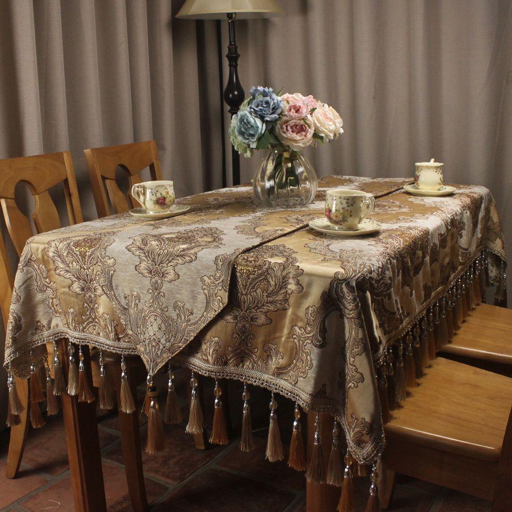 Beige Clic Chenille Jacquard Luxury Table Cloth Le