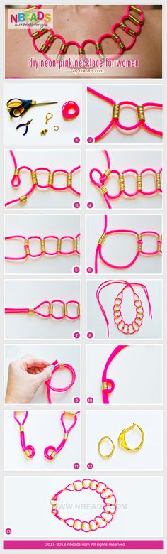 gargantilla con cola de ratón y abalorios - diy neon pink necklace for women #Jewelry #Diy #nbeads